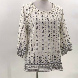 Skies are blue printed blouse sz L Large